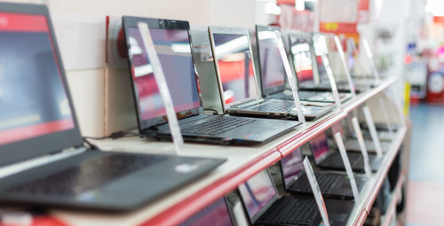 New laptops on display for sale
